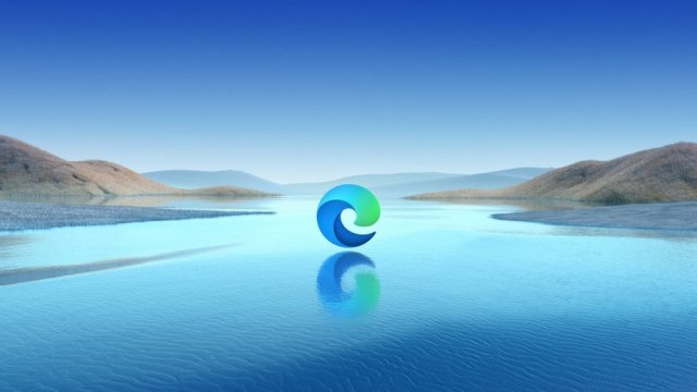 The Microsoft Edge logo floating on a lake.