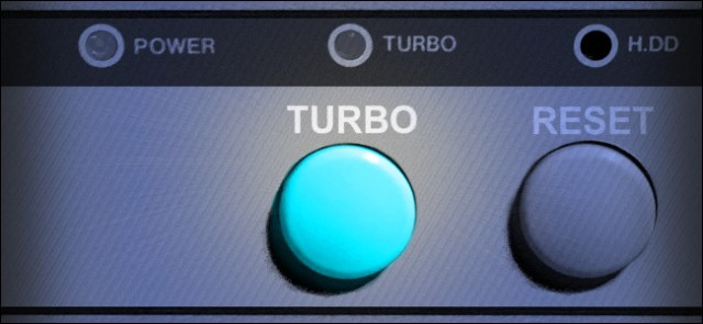 A vintage PC Turbo button.