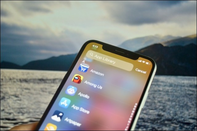 The iOS 14 application library search screen.
