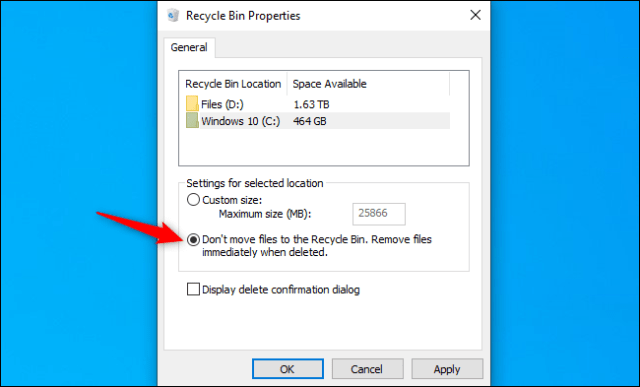 Tell Windows 10 to skip the trash for specific drives.
