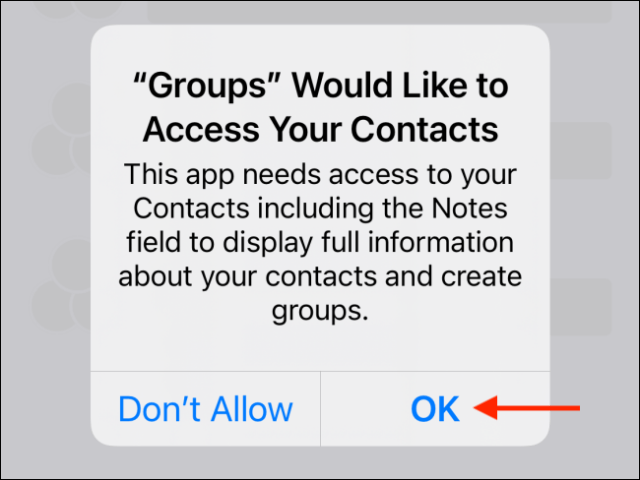 Tap OK in the pop-up window to give permission to contacts