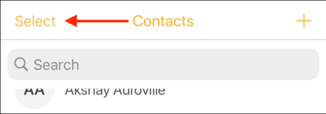 Press the Select button in the Contacts tab