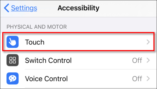 Tap Touch in Settings on iPhone or iPad