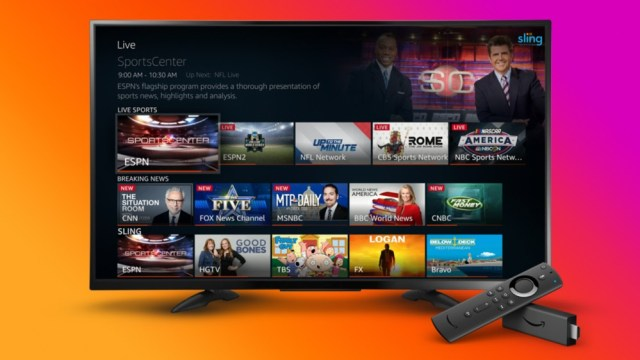 A Fire TV showing live content from several sources.