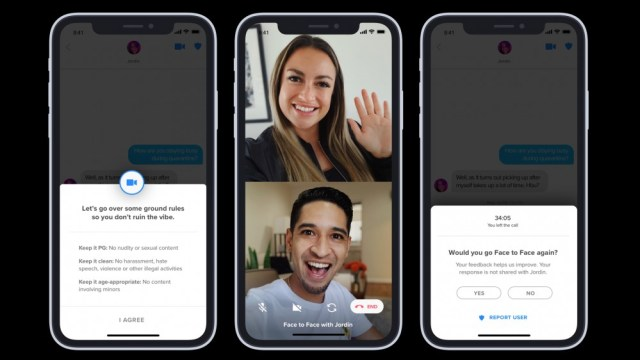 A screenshot of the Face to Face video chat on Tinder.