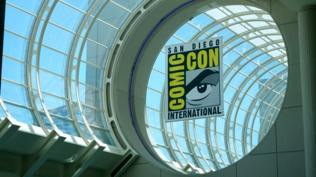 San Diego Comic-Con inside the convention center a banner for the convention hangs
