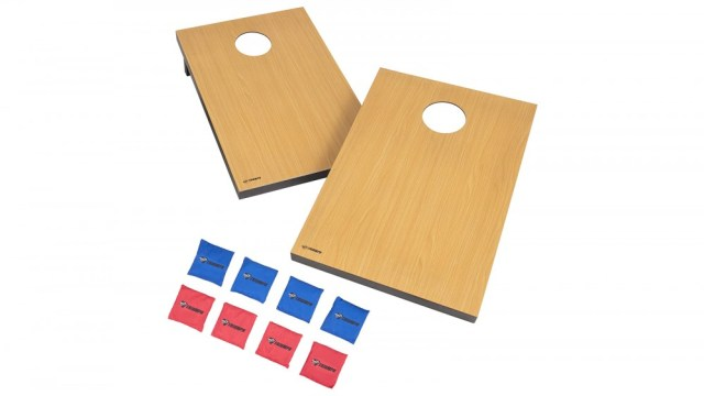 Two single cornhole boards and eight throwing bags