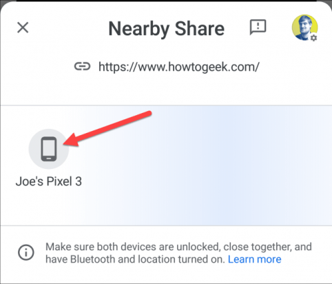 nearby share select a device