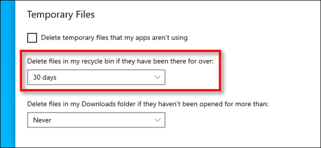 Set the interval for deleting the file from the recycle bin in Windows 10 settings