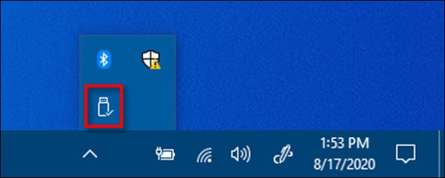 Right click on the Safely Remove Hardware icon in Windows 10.
