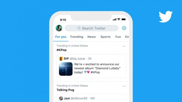 A Twitter mockup showing a trending section with a pinned tweet.