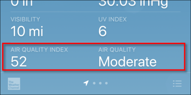 Checking the Air Quality Index (AQI) on an iPhone with Apple Weather.
