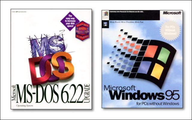 The box illustration on Microsoft MS-DOS 6.22 and Windows 95.