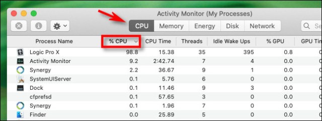 """In Activity Monitor, click the CPU tab and the """"% CPU"""" column header."""