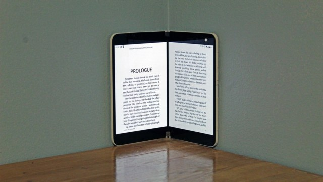 A Kindle application open on the Duo, one page on each screen.