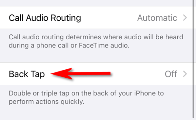 """In Accessibility Touch settings on iPhone, select """"Back Tap."""""""