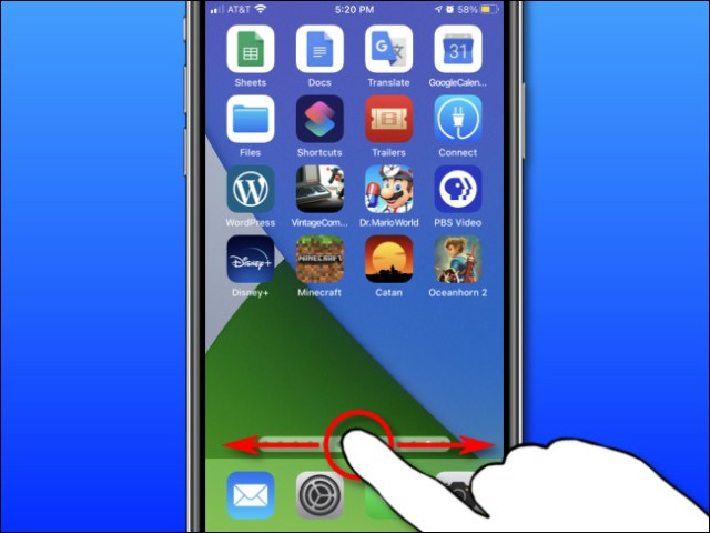 Using your finger, slide your finger left and right on your iPhone to quickly scroll through the home screen pages.