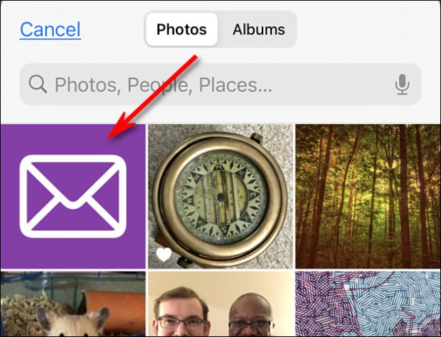 Tap the image you want to use as a custom icon in iPhone Photos.
