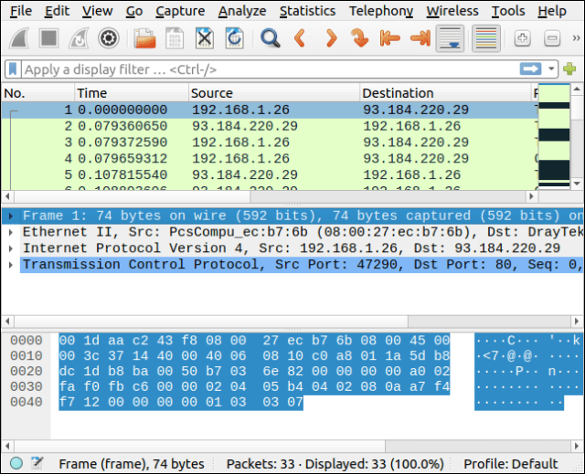 Packages selected in Brim are displayed in Wireshark.