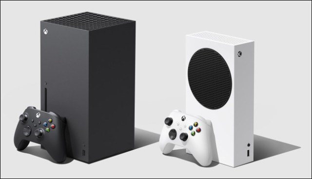 An Xbox Series X and Series S with controllers.