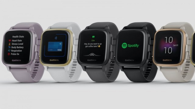 A row of Garmin Venu Sq smartwatches in different colors.