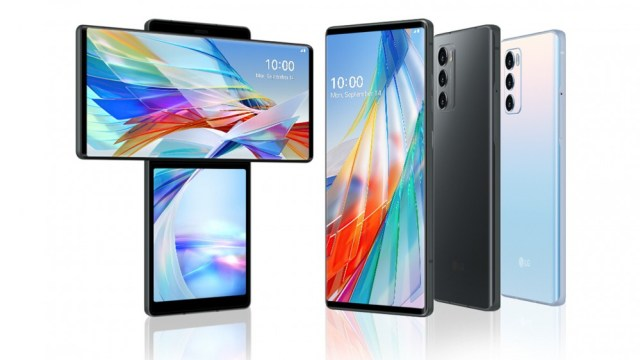 The front of the LG Wing smartphone, the swivel screen and the rear view of the device