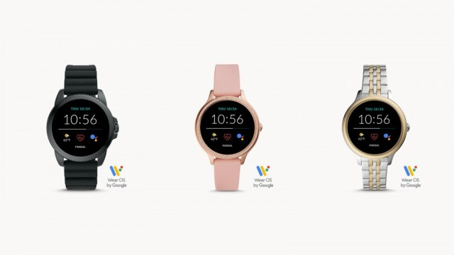 Three Fossil Gen 5E smartwatches in different colors.