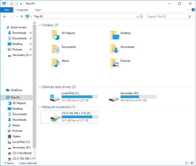 Selection of the network location where the backup should be stored.