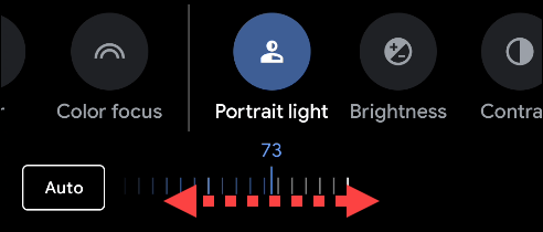 Drag the slider to adjust the brightness of the lighting in an image.