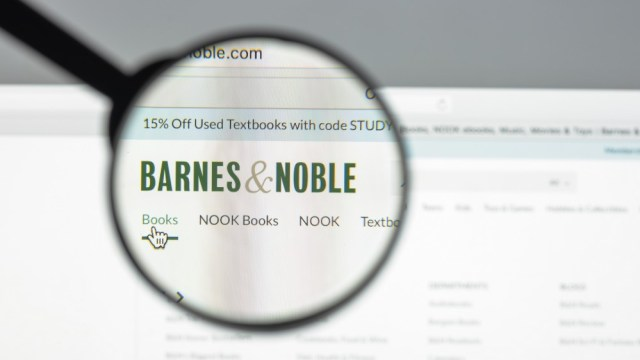 A magnifying glass over the Barnes and Noble logo.