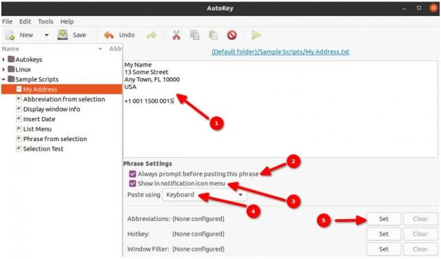 Entering the address in Autokey and configuring the Autokey options