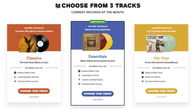 Vinyl Me, Please three subscription choices for Classics, Essentials and Hip-Hop