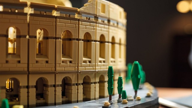 A close-up of the LEGO Colosseum.