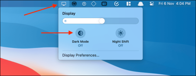 Enable Dark Mode from Display Icon in Menu Bar