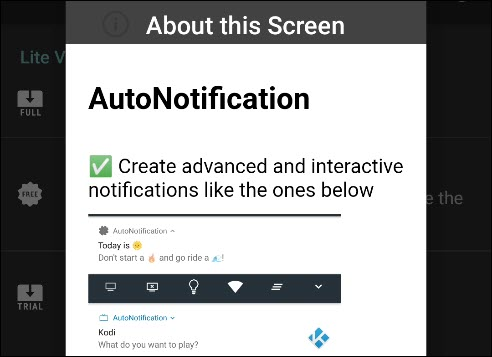 The introductory message in AutoNotification.