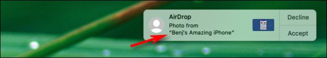 An example of the new AirDrop name on a Mac.