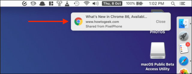 Click on the notification to open the Received tab of Chrome on iPhone or iPad