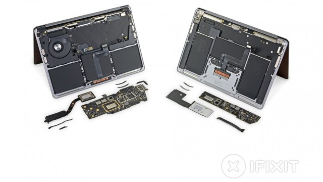 Exploded view of the iFixit M1 MacBook Air and Pro