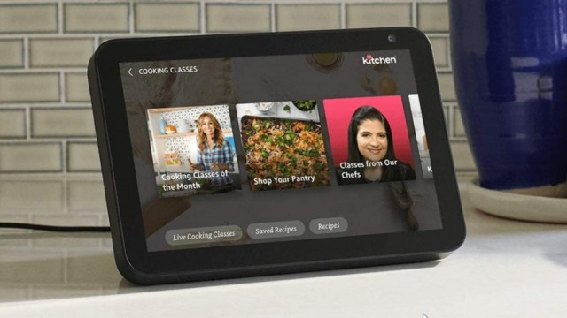 Amazon Echo Show 8 smart display on the kitchen counter