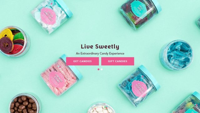 Candy Club homepage with jars of candy against a sea green background