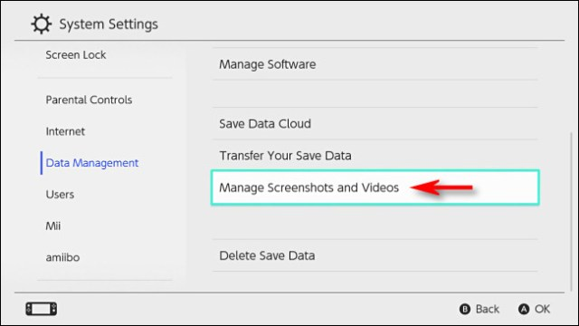 """In Switch """"Data Management,"""" select """"Manage Screenshots and Videos."""""""