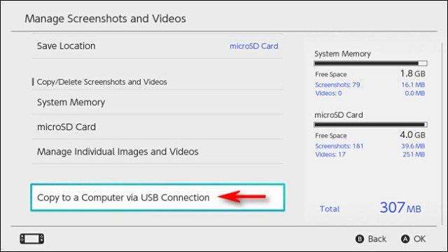 """In Switch """"Manage Screenshots and Videos,"""" select """"Copy to a Computer via USB Connection."""""""