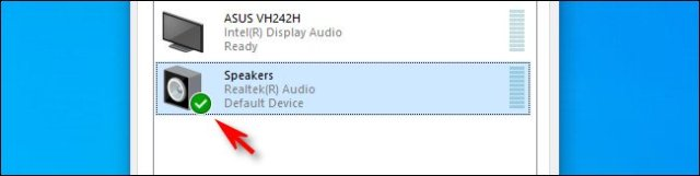 In Windows 10, a green check mark next to the speakers icon means this is the default device.