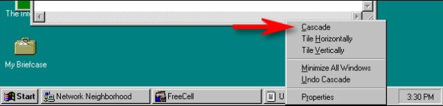 The cascading option in Windows 95.