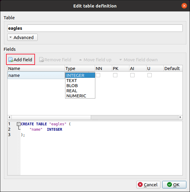 Edit DB Browser for SQLite Table Definition Dialog Box
