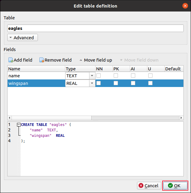 Edit Table Definition dialog box with two fields added to new table DB Browser for SQLite
