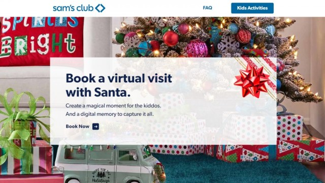 Sam's Club Santa Claus Virtual Tour Options for Photo Account Members