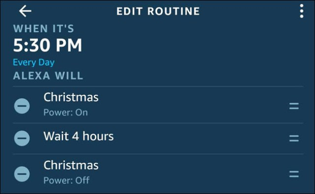 The Alexa routine dialogue with a Christmas lit, wait 4 hours, Christmas sequence.