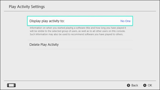 "The Nintendo Switch ""Show reading activity on"" setting is set to ""Nobody""."