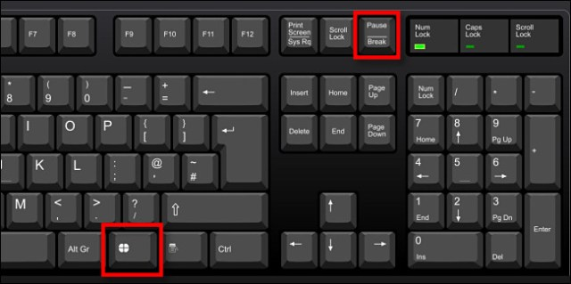 Press Windows + Pause / Pause to open the About System window.